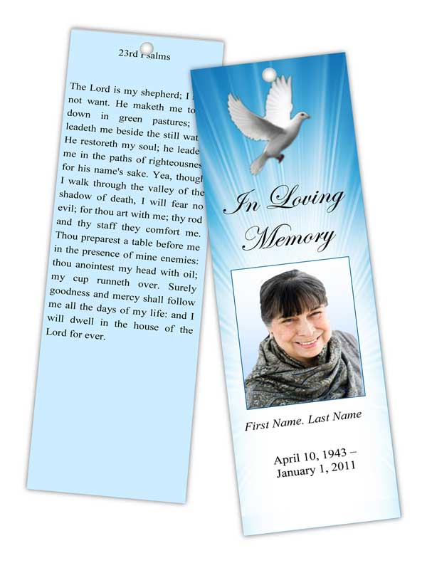 Memorial Bookmark Templates  Funeral Bookmarks  Obituary Bookmark