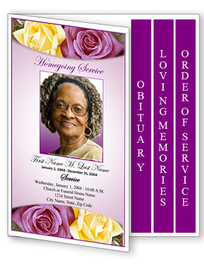 lovely purple rose funeral program template