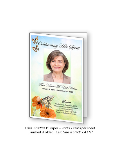 Beautiful Butterfly Funeral Card Template Elegant Memorials