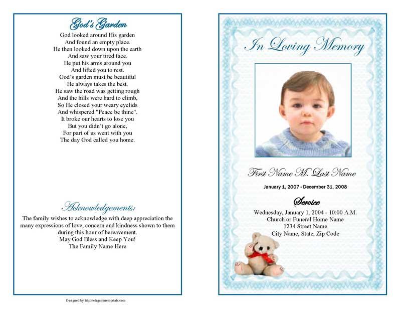 blue teddy bear funeral program template
