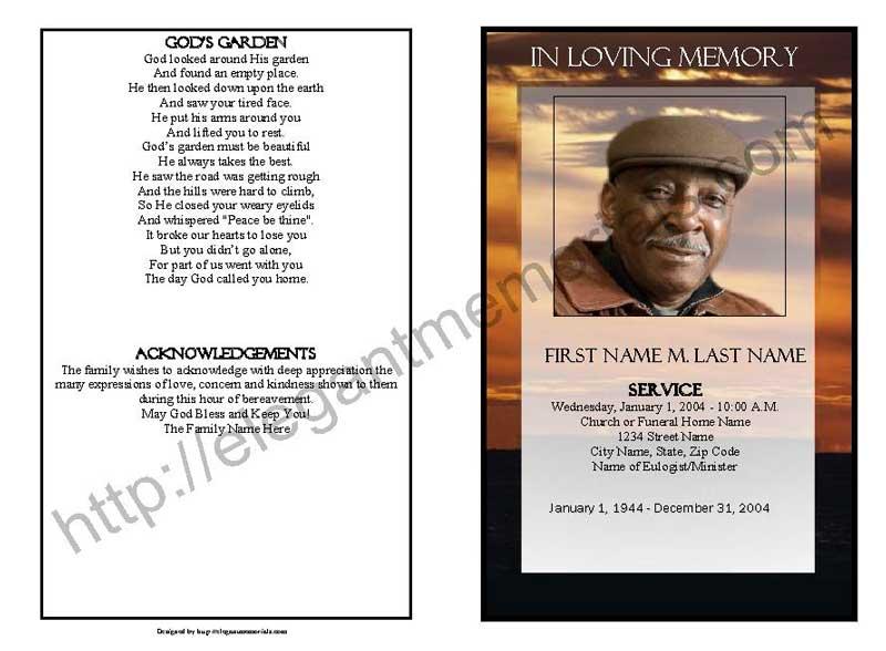 Brown Sunset Funeral Program Template Elegant Memorials