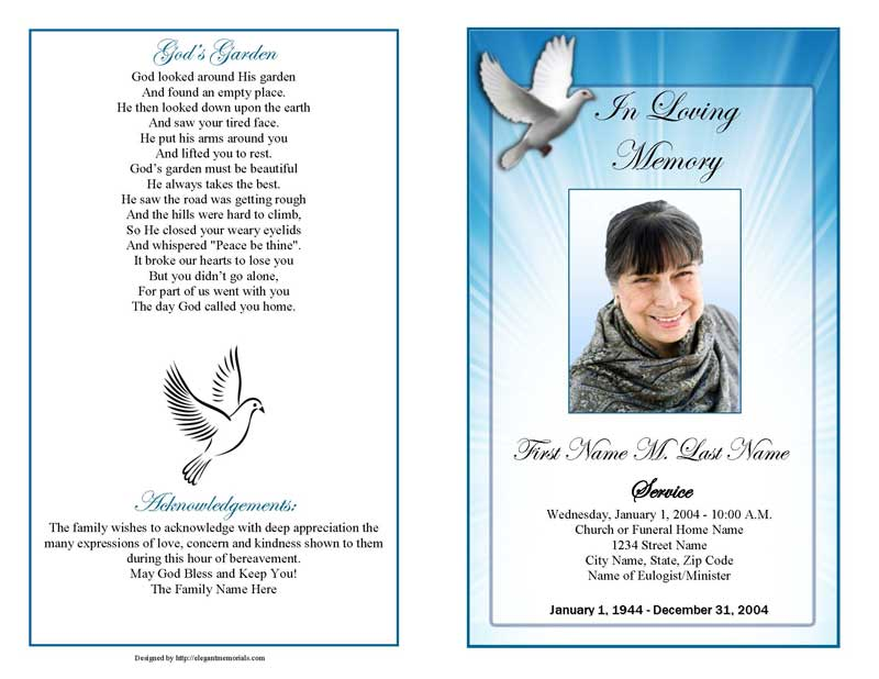 celestial dove funeral program template