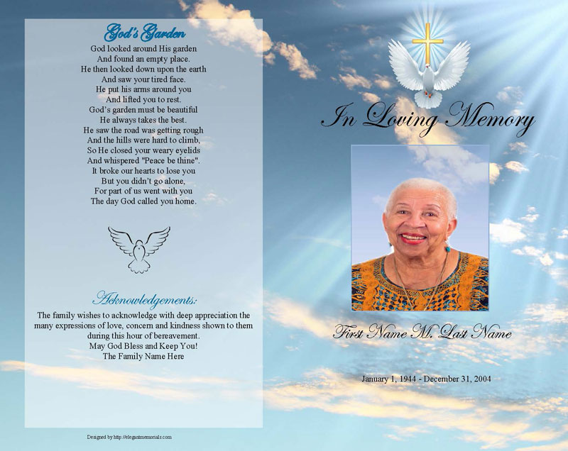 dove cross funeral program template