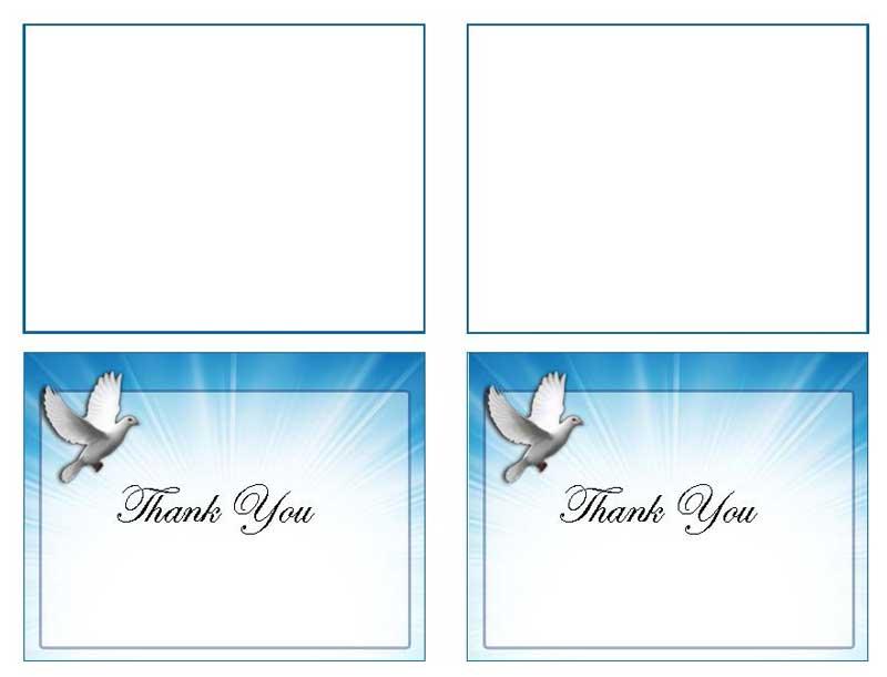 Celestial Dove Thank You Card Template Elegant Memorials