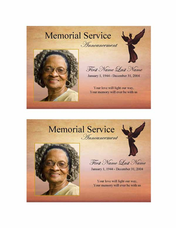 beloved angel funeral announcement template