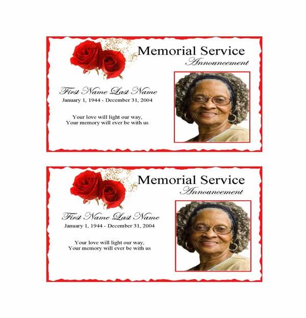 red rose funeral announcement template elegant memorials
