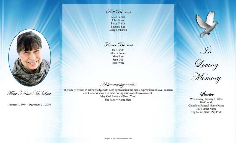 Celestial Dove Gatefold Funeral Program Template MS Word