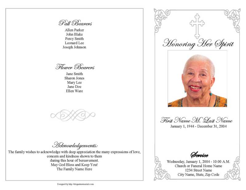 grey ornate cross funeral program template