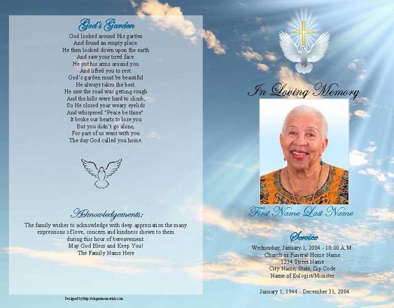 dove cross funeral program template