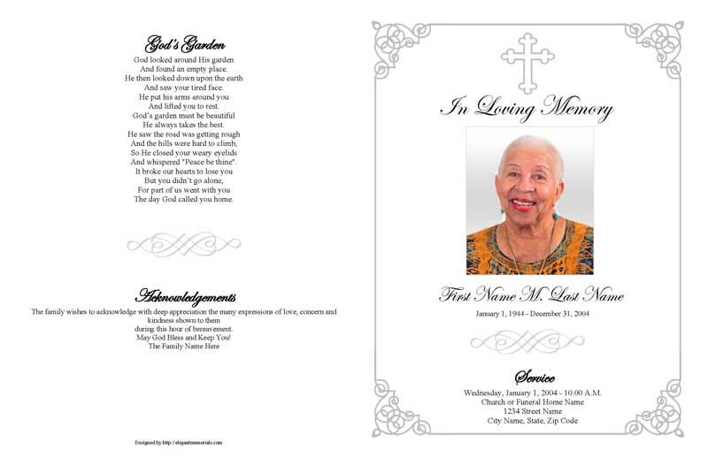 Grey Ornate Cross Large Funeral Program Template