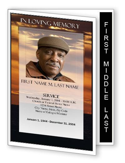 Sunset Funeral Program Template Funeral Printables 8 Page Sunset Program Memorial Programs Memorial Service Obituary Template