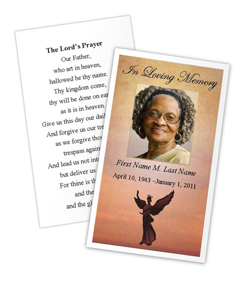 Beloved Angel Memorial Prayer Card Template MS Publisher