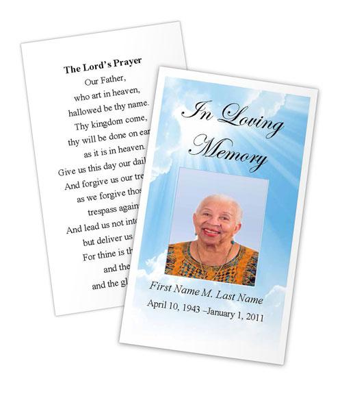 Blue Sky Memorial Prayer Card Template MS Publisher