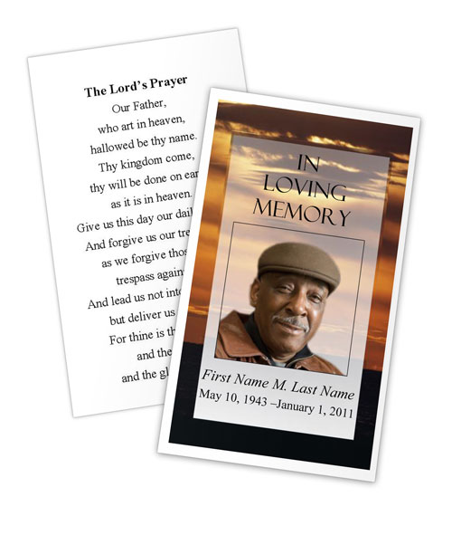brown sunset memorial prayer card template