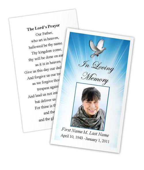 Celestial Dove Memorial Prayer Card Template