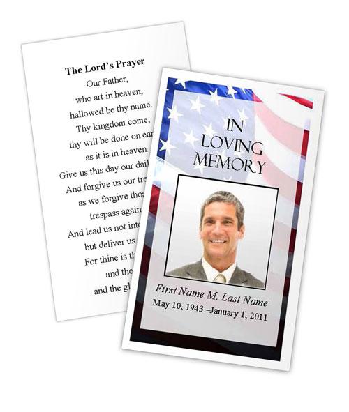 Patriotic US Memorial Prayer Card Template