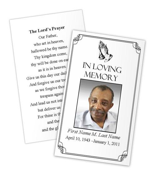 praying hands memorial prayer card template