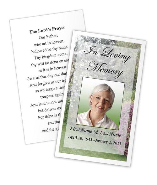 Spring Garden Memorial Prayer Card Template MS Publisher