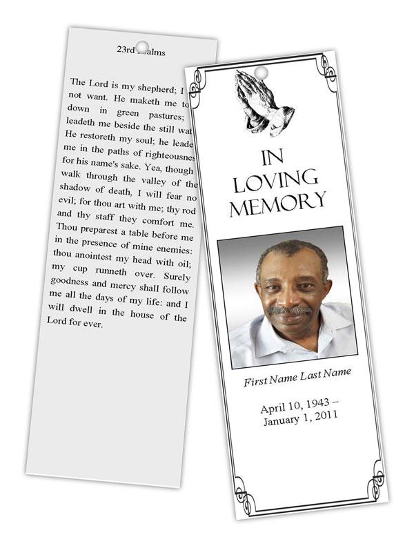 Praying Hands Bookmark Template - Elegant Memorials
