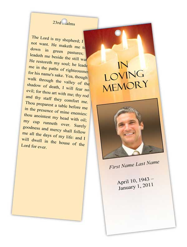 sacred candles bookmark template elegant memorials. Black Bedroom Furniture Sets. Home Design Ideas