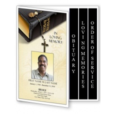 Bible Memories Funeral Program Template - 4 Page Graduated Fold