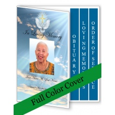 Dove Cross Funeral Program Template - 4 Page Graduated Fold