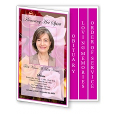 Flowers of Devotion Funeral Program Template - 4 Page Graduated Fold
