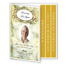 Cherished White Roses Funeral Program Template -- 4 Page Graduated Fold