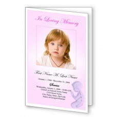 Precious Pink Angel Funeral Program Template