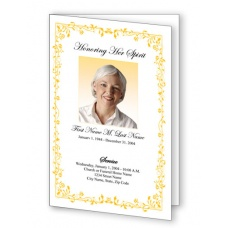 Yellow Floral Border Funeral Program Template