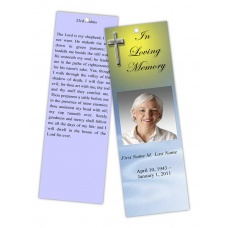 Blue Eternal Cross Bookmark Template