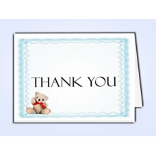 Blue Teddy Bear Thank You Card Template