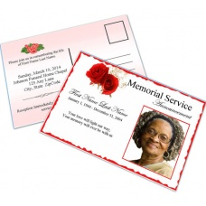 Red Rose  Funeral Announcement Template
