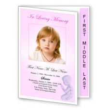 Precious Pink Angel Funeral Program Template - Graduated Fold