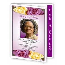 Lovely Purple Rose Funeral Program Template - Graduated Fold