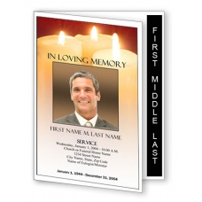 Sacred Candles Funeral Program Template - Graduated Fold
