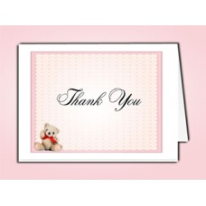 Pink Teddy Bear Thank You Card Template
