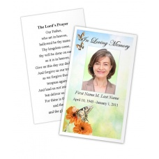 Beautiful Butterfly Memorial Prayer Card Template