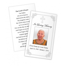 Grey Ornate Cross Memorial Prayer Card Template