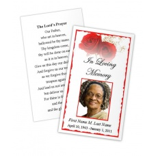 Red Rose Memorial Prayer Card Template