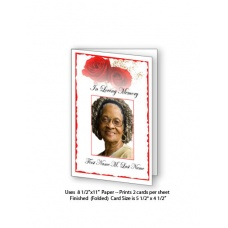 Red Rose Funeral Card Template