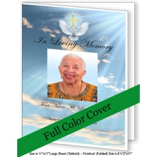 Dove Cross Large Funeral Program Template