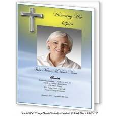 Blue Eternal  Large Funeral Program Template