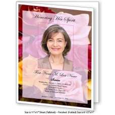 Flowers of Devotion Large Funeral Program Template