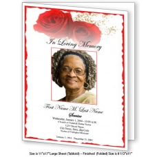 Red Rose Large Funeral Program Template