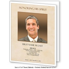 Tan Simplicity Large Funeral Program Template