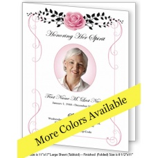 Beloved Vintage Rose Large Funeral Program Template