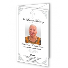 Grey Ornate Cross Trifold Funeral Program Template