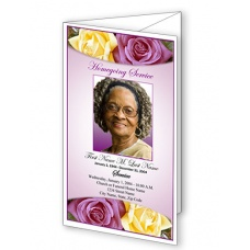 Lovely Purple Rose Trifold Funeral Program Template