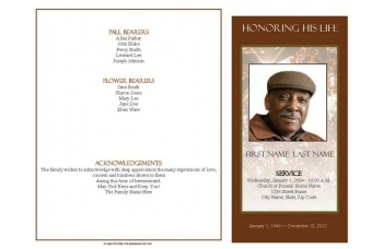 Ray of Sunshine Funeral Program Template - 4 Page Graduated Fold